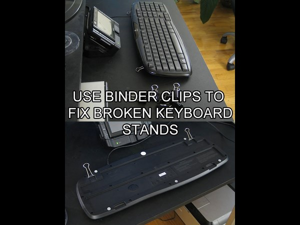use binder clips to fix keyboard stand