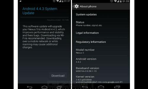 ഗൂഗിള് നെക്സസ് 5-ന് ആന്ഡ്രോയ്ഡ് 4.4.3 കിറ്റ്കാറ്റ് അപ്ഡേറ്റ്!!!