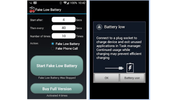 3. Fake Low Battery