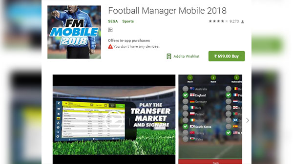 5. Football Manager Mobile 2018